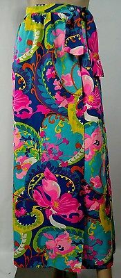 Vintage 60s Multicolor Floral Hawaiian Wrap Skirt By Beverly Vogue California