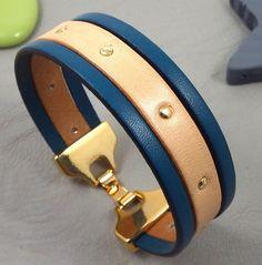 Kit tutoriel bracelet cuir bleu outremer et naturel fermoir flashe or : Kits, tutoriels bijoux par bijoux-giuliana