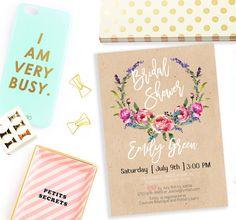 Bridal Shower Invitation Printable Kraft Rustic Bridal Shower