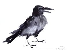Crow original watercolor painting 9 X 12 in crow by ORIGINALONLY, $24.00