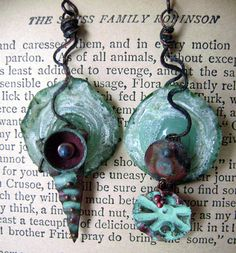 Assymetrical dangle assemblage glass verdigris metal earrings by Anvil Artifacts  $58.00