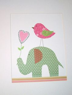 Etsy artwork - elephant, heart, and bird