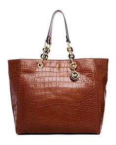 5602e5289c05 MICHAEL Michael Kors Cynthia Large Crocodile-Embossed Leather Tote. Michael  Kors Stores