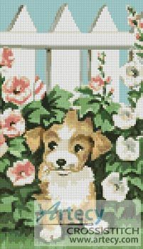 Garden Puppy Cross Stitch Pattern http://www.artecyshop.com/index.php?main_page=product_info&cPath=1_7&products_id=757