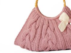 Pink white knit Handbag with bow hand made- knited knit- pink bag-knit bag Orange Handbag, White Handbag, Louis Vuitton Artsy Mm, Knitted Bags, Knit Bag, Pumpkin Colors, Old Sweater, Pink Handbags, Knitting Accessories