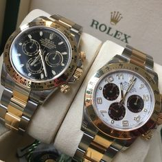 Two great steel & gold Rolex Daytona's. Classic Black or the sadly missed Panda? which one would you choose? #DailyDuo