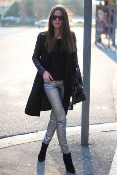 metallic pants with black, black, black