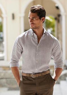 ~Smooth shade of shirt color. Business Casual Men, Men Casual, Famous Male Models, Mature Mens Fashion, Androgynous Models, David James Gandy, Masculine Style, Fashion Figures, Gq