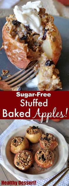 Healthy baked apples dessert! Stuffed with oats, nuts, and dried cranberries, and it's sugar-free! http://www.veganosity.com