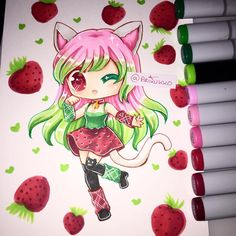 Chibi commission for @not.so.supernova ! =D #neko #kawaii #strawberry…