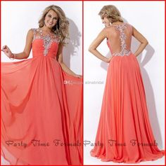 2015 Prom Dresses Coral Sabrina Neckline Illusion Beaded Back Sweep Train Pleats Chiffon Dress Party Time Formal Gowns