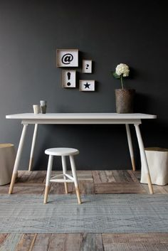 House doctor three legged stool home inspirations White Dining Table, Dining Table Chairs, House Doctor, Sala Vintage, Sweet Home, Dark Interiors, Scandinavian Living, Home And Deco, Home Decor Kitchen