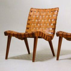 Early Jens Risom Easy Chair In Original Leather By Knoll, 1940s