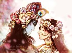 The sweet voice of Shyama ju is singing the lovely melodious raga Kalyan. Her voice is captivating all the inhabitants of Shri Nitya… Radha Krishna Wallpaper, Lord Krishna Images, Radha Krishna Pictures, Radha Krishna Photo, Krishna Photos, Krishna Art, Radhe Krishna, Ganesha Pictures, Little Krishna