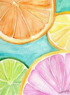 Citrus Watercolors Paintings Ruby Red Grapefruit, Lemon, Orange, Limes original, Watercolor Painting,  Fruit ART, 5 x 7, kitchen decor by SharonFosterArt on Etsy