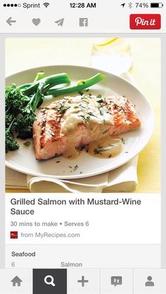Grilled Salmon With Mustard-Wine Sauce... #Food #Drink #Musely #Tip