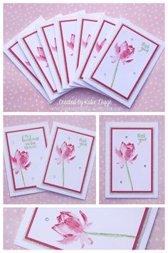 Stampin' Up! Simple & Easy Strawberry Slush Lotus Blossom Thank You Notecards | Created by Katie Legge | #StampinUp #LotusBlossom #SaleABration2015 | https://rachelleggestampinup.wordpress.com/2015/01/21/simple-and-easy-lotus-blossom-notecards/