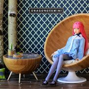 Mid Century Modern Doll Furniture Chair and Coffee Table.  DIY Miniature Barbie Sized Furniture with Ikea Hacks