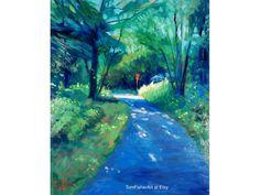 """Landscape original Oil entitled """"Walking Pathway"""" Impressionist landscape oil painting by Tom Fisher Impressionist Landscape, Landscape Artwork, Pathways, Fisher, Landscapes, My Arts, Walking, Oil, Green"""