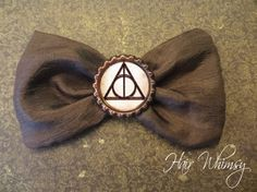 Harry Potter Hair Bow Deathly Hallows by HairWhimsy1 on Etsy, $7.00