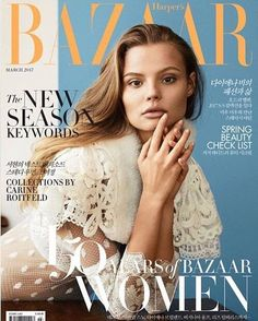 Dressed in white, Magdalena Frackowiak lands the March 2017 cover of Harper's Bazaar Korea. Photographed by Olivia Malone, the Polish beauty wears a white lace… V Magazine, Fashion Magazine Cover, Fashion Cover, Fashion Photo, Magazine Covers, Marie Claire, Fashion Books, Fashion News, Fashion Magazines