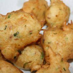 How to Make Saltfish Accras. Waffle Recipes, Egg Recipes, Fish Recipes, Indian Food Recipes, Dessert Recipes, Cooking Recipes, Recipes Dinner, Salt Fish Recipe, Saltfish Fritters