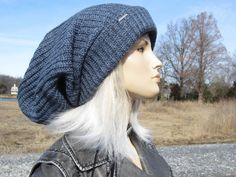 403fc5ee90e Oversized Slouch Tam Hat Indigo Denim Blue Clothing Thick Bulky Chunky Big  Baggy Wide Cuffed Loose Beanie for Women A2104