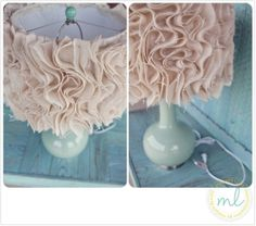 Close Up Photographs of Ruffled Burlap Anthropologie DIY Lamp Shade Personal Project Diy Projects To Try, Crafts To Do, Diy Crafts, Burlap Projects, Burlap Crafts, Ruffle Lamp Shades, Burlap Lampshade, Lampshades, Cover Lampshade