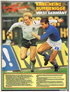Karl-Heinz Rummenigge of West Germany in action against Italy at the 1978 World Cup Finals. Germany Football Team, Football Players, World Cup Final, Kids Soccer, Munich, Baseball Cards, History, Finals, 1970s
