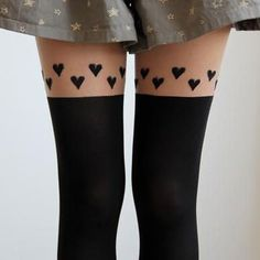 Heart Skin Color Thigh Stitching Silk Stockings