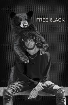 6LACK+Print+by+Majikal+Whispers+on+CreativeAllies.com #rmb #rap #free6lack #6lack #bear #art #drawing #illustrator #illustration #albumart #RMBRAPArtist