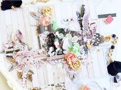 """""""The Rose Quartz collection is so beautiful! I love mixing all with MPP goodies.  Here, I used clips and tassels to be different this romantic layout and this altered star. """"Love"""" is just the word to describe how we feel about this collection! I adore the different shades of pink and grey that are used throughout the collection."""" ~ Vero Atienza"""