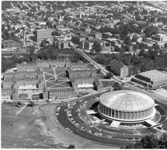 Ohio University campus and Athens, Ohio, aerial view looking northeast, ca. 1969. :: Ohio University Archives