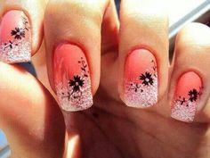 Orange sparkle nails