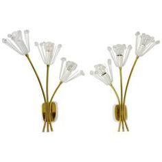 Two big Emil Stejnar Flower Sconces by Rupert Nikoll, Vienna, 1950s
