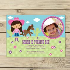 Cowgirl Pink Birthday DIY Printable Photo Invitation    ~~~~~~~~~~~~~~~~~~~~~~~~~~~~~~~~~~~~~~~~~~~~~~~~~~~~~~~  INVITATION SIZE