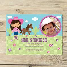 Cowgirl Pink Birthday DIY Printable Photo Invitation    ~~~~~~~~~~~~~~~~~~~~~~~~~~~~~~~~~~~~~~~~~~~~~~~~~~~~~~~  INVITATION SIZE