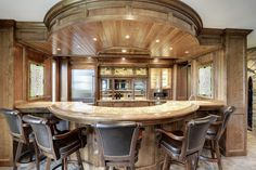 wooden bar design with round shape