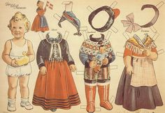 Vintage Danish Paper doll - this is the Danish Queen Margrethe when she was a little girl. *** Paper dolls for Pinterest friends, 1500 free paper dolls at Arielle Gabriel's International Paper Doll Society, writer The Goddess of Mercy & The Dept of Miracles, publisher QuanYin5