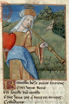 Paris, Bibl. Mazarine, ms. 3892 f. 007r and f. 010v. Adrien de Saint-Gelais, Les trois buccines. France, 15th-16th century.