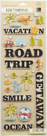 K&Company Adhesive Chipboard Handmade Travel $5.00