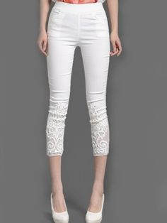 Ladylike  Solid Hollow Out Lace Rhinestone Patchwork Leggings Leggings from fashionmia.com