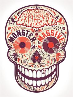 monster party skull. Dia DES Los muertos. Carnival. Happy skull. Colorful. Fonts. Graphic. #cuteypie