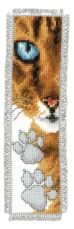 bookmark, counted cross-stitch, picture, cat, feline, paw print, colour, moderate