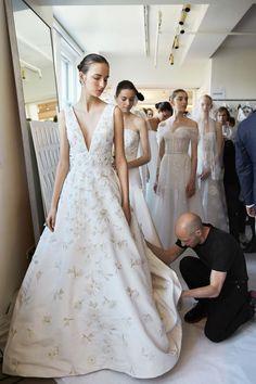 Backstage at Oscar de la Renta Spring '17 bridal