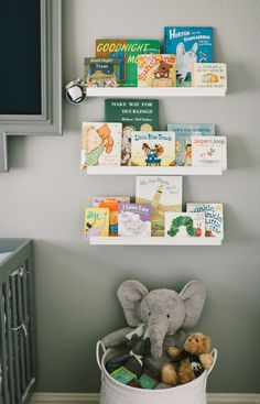 Modern Grey, Navy and White Nursery Simple Library Wall with IKEA Picture Ledges - makes for a clean design in the nursery!Simple Library Wall with IKEA Picture Ledges - makes for a clean design in the nursery! White Nursery, Girl Nursery, Nursery Room, Baby Nursery Ideas For Boy, Boy Nursey, Nursery Crafts, Baby Boy Nursery Decor, Giraffe Nursery, Babies Nursery
