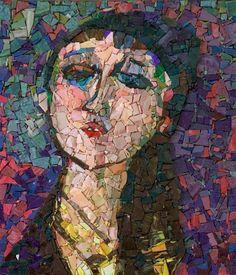 Young woman's portrait (Tribute to Modigliani) Judikaëlle Sharp Think Mosaic