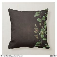 Green Floral Throw Pillow Brown And Green Living Room, Green And Grey, Floral Throws, Floral Throw Pillows, Olive Green Couches, Earth Tone Decor, Brown Cushions, Green Pillows, Living Room Colors