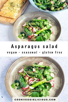 Perfectly seasonal, this tasty radish, watercress and asparagus salad makes the most of spring ingredients. Served with a lemony dressing. #springsalad #vegansalad #asparagussalad #asparagusrecipes #watercressrecipes #radishrecipes Watercress Recipes, Radish Recipes, Vegetarian Dinners, Vegetarian Recipes, Vegetarian Lunch, Asparagus Salad, Spring Salad, How To Make Salad, Vegetable Recipes