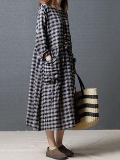 Casual Loose Plaid Big Pockets Women Dresses Coat Dress af19ad8d0